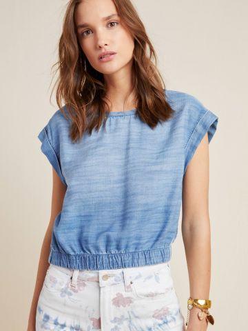 חולצת ג'ינס בסיומת גומי Cloth & Stone של ANTHROPOLOGIE