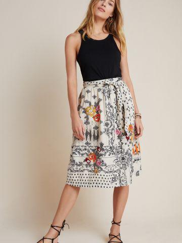חצאית מידי בדוגמת פרחים של ANTHROPOLOGIE