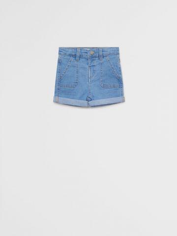 ג'ינס ברמודה קצר בשטיפה בהירה עם תפרים דקורטיביים / 9M-4Y של MANGO