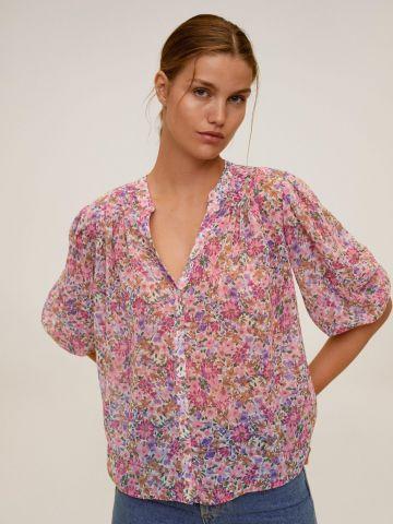חולצה מבד נשפך בהדפס פרחים של MANGO