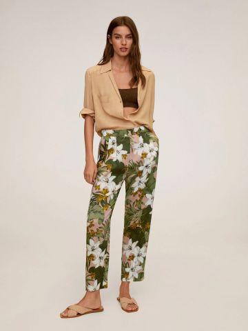 מכנסיים ארוכים בהדפס פרחוני של MANGO