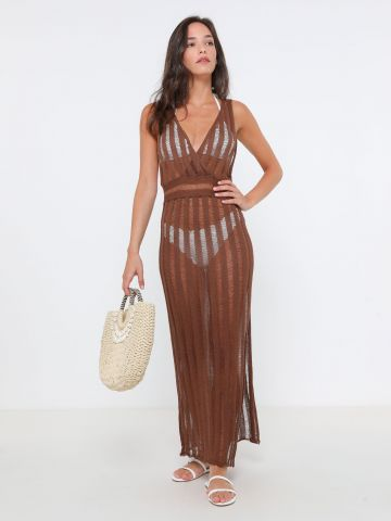 שמלת מקסי סרוגה שקפקפה של TERMINAL X