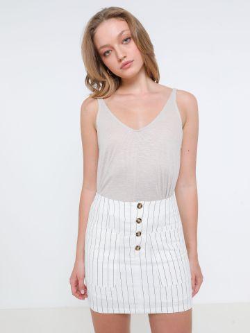 חצאית מיני בהדפס פסים של TERMINAL X