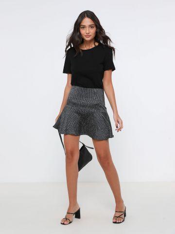 חצאית מיני סאטן בהדפס חברבורות של TERMINAL X