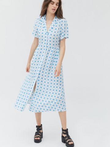 שמלת מידי מכופתרת בהדפס משבצות UO של URBAN OUTFITTERS