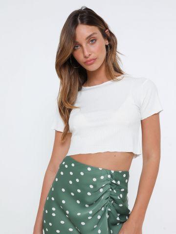 חולצת קרופ בסיומת מסולסלת של TERMINAL X