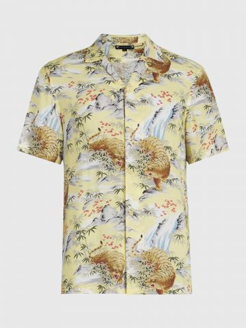 חולצה מכופתרת בהדפס טרופי Slim של ALL SAINTS