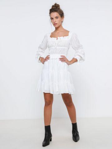 שמלת כיווצים בשילוב משי / נשים של ALL SAINTS