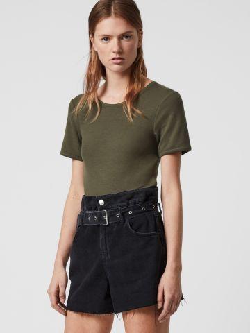 ג'ינס פייפרבאג קצר עם חגורה של ALL SAINTS