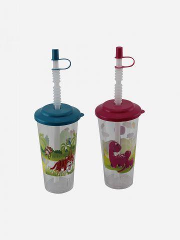 מארז 2 כוסות עם איורי חיות וקשיות של SHILAV