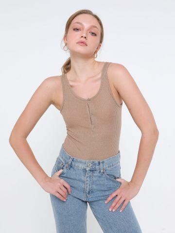בגד גוף ריב עם כפתורים של TERMINAL X