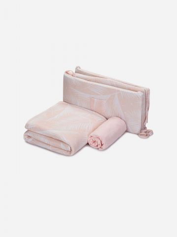 סט מצעים למיטת תינוק ומגן ראש בהדפס טרופי של NINO