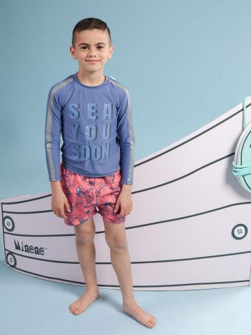 חולצת גלישה עם הדפס כיתוב של MINENE