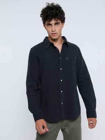 חולצה ג'ינס מכופתרת עם כיס של CALVIN KLEIN