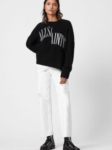 סוודר בשילוב צמר עם דוגמת לוגו של ALL SAINTS