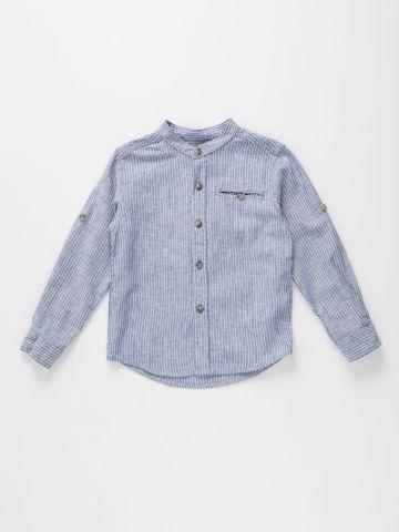 חולצת פשתן מכופתרת בהדפס פסים / בנים של AMERICAN EAGLE