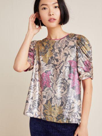 חולצת פאייטים עם שרוולים נפוחים של ANTHROPOLOGIE