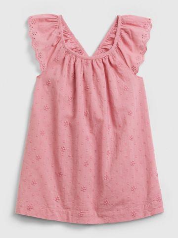 שמלה בשילוב רקמת פרחים וחירורים דקורטיבים / 0-24 של GAP