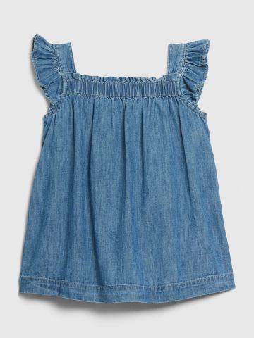 שמלת ג'ינס מתרחבת עם כיווצים ומלמלה / 0-24M של GAP