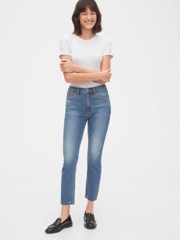 ג'ינס סטרץ' ארוך בגזרת קרופ עם שפשופים של GAP