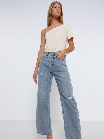 ג'ינס רחב עם שפשופים של TERMINAL X