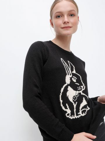 סריג עם הדפס ארנב של FOX