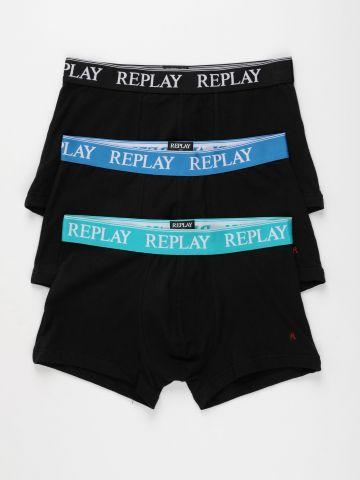 מארז 3 תחתוני בוקסר עם לוגו של REPLAY