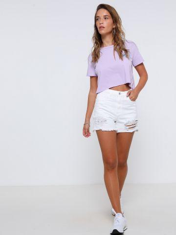 ג'ינס Mom קצר עם קרעים של TERMINAL X