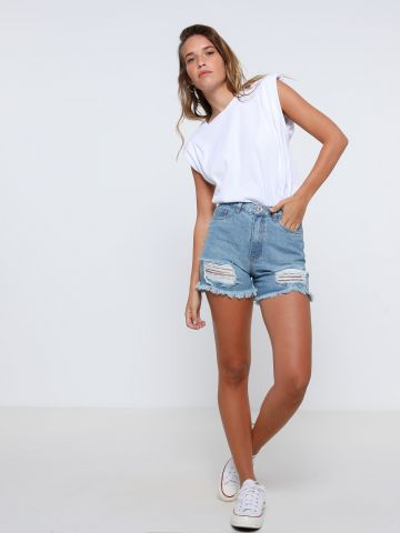 ג'ינס קצר עם קרעים של TERMINAL X