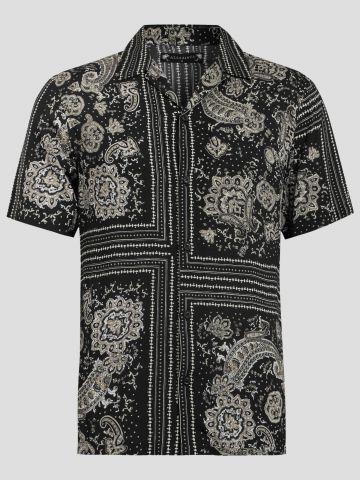 חולצה מכופתרת מבד נשפך בהדפס אבסטרקטי / גברים של ALL SAINTS