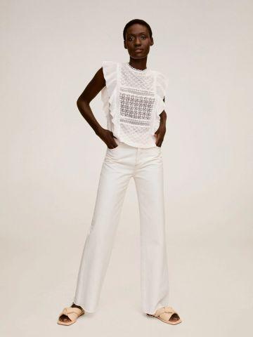 חולצת פשתן עם עיטורי רקמה של MANGO