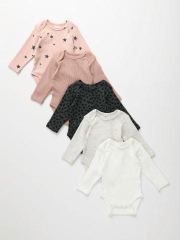 מארז 5 בגדי גוף ריב בהדפסים שונים / 0M-2Y של TERMINAL X KIDS