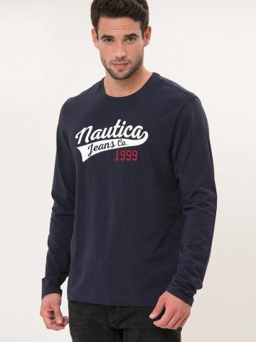 טי שירט שרוולים ארוכים עם הדפס ורקמת לוגו של NAUTICA