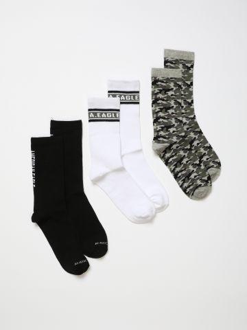 מארז 3 זוגות גרביים בהדפסים שונים / בנים של AMERICAN EAGLE