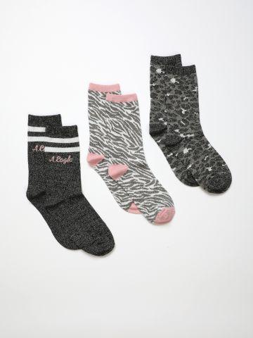 מארז 3 זוגות גרביים בהדפסים שונים / בנות של AMERICAN EAGLE