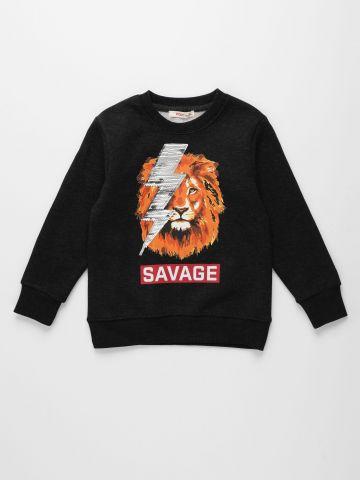 חולצת פוטר עם הדפס אריה / בנים של FOX