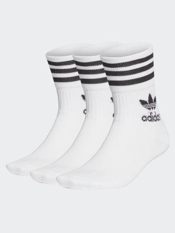מארז 3 זוגות גרביים גבוהים שלושה פסים / יוניסקס של ADIDAS Originals