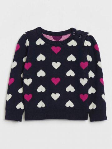 סוודר בדוגמת לבבות / 0-24M של GAP