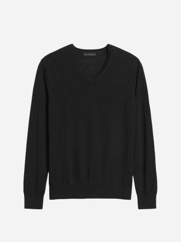סוודר צמר עם מפתח וי / גברים של BANANA REPUBLIC