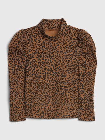 חולצה בהדפס מנומר עם צווארון גבוה / 12M-5Y של GAP