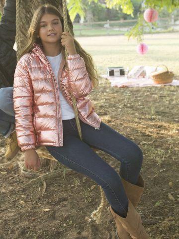 מעיל קווילט בגימור מבריק / בנות של FOX