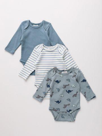 מארז 3 בגדי גוף בהדפסים שונים / 0M-2Y של TERMINAL X KIDS