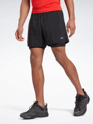 מכנסי ריצה קצרים עם טייץ של REEBOK