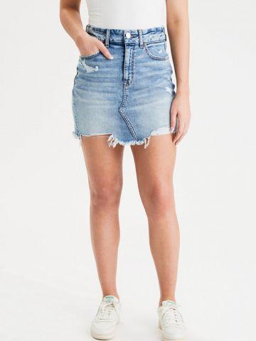 חצאית ג'ינס מיני בסיומת פרומה של AMERICAN EAGLE