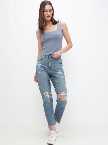 ג'ינס עם קרעים Curvy mom של AMERICAN EAGLE