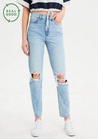 ג'ינס Mom עם קרעים של AMERICAN EAGLE