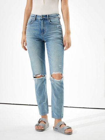 ג'ינס ארוך עם עיטורי קרעים Mom של AMERICAN EAGLE