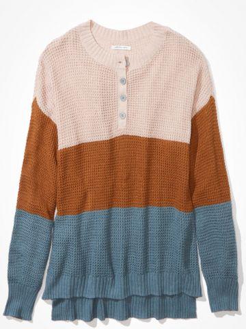 סוודר קולור בלוק עם כפתורים / נשים של AMERICAN EAGLE