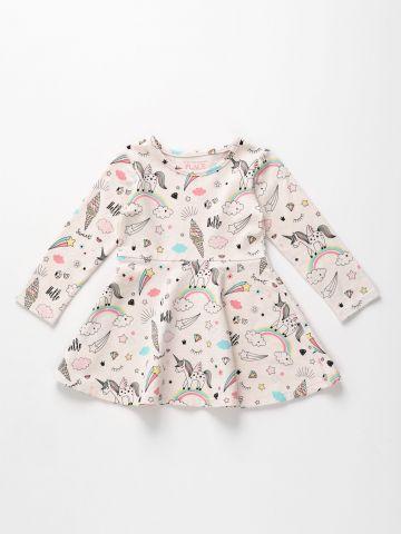 שמלה מתרחבת בהדפס חד קרן עם שרוולים ארוכים / 6M-5Y של THE CHILDREN'S PLACE