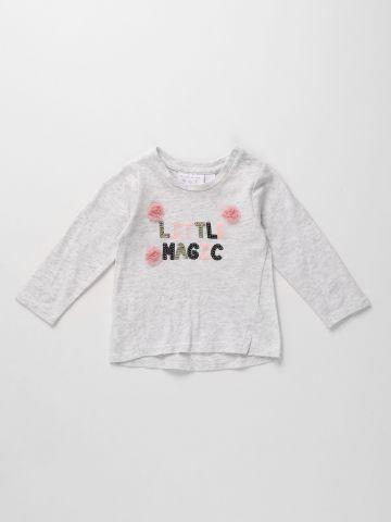 חולצה עם כיתוב פייטים 3M-5Y / A LITTLE MAGIC של THE CHILDREN'S PLACE